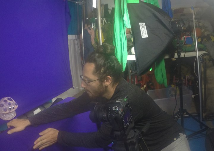 Jesse-working-with-green-screen-and-puppets
